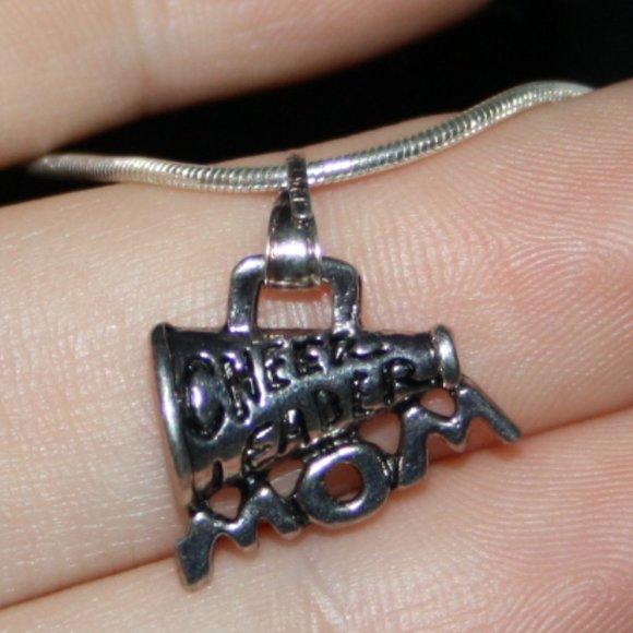 Silver Cheer Mom necklace adjustable